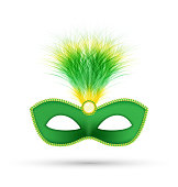 Green carnival mask with fluffy feathers isolated on white