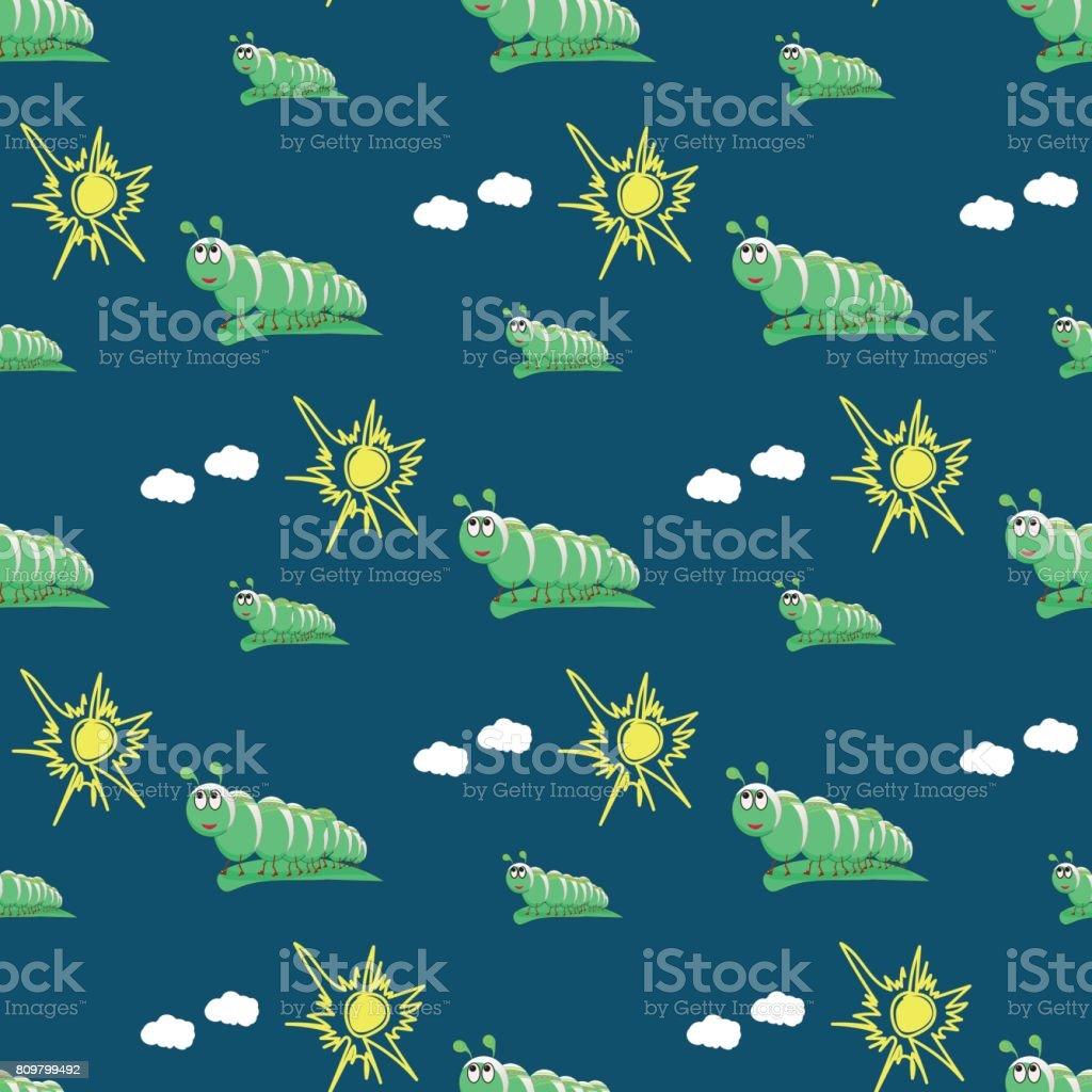 Green Cartoon Caterpillar On A Blue Background Stock Illustration
