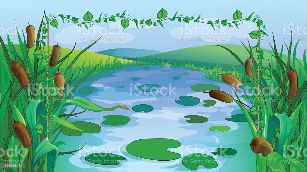 Green cartoon march game background vector art illustration