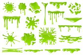Green cartoon slime. Goo blob splashes, sticky dripping mucus. Slimy drops, messy borders for halloween banners isolated vector spooky toxic drip texture set