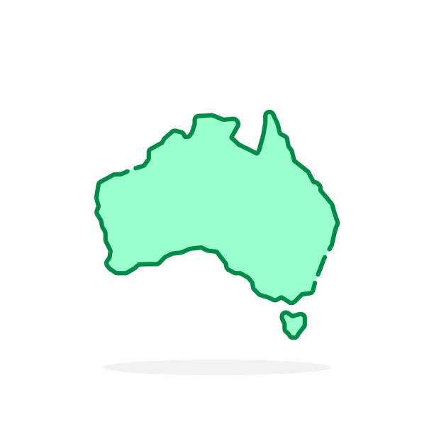 green cartoon thin line australia icon vector art illustration