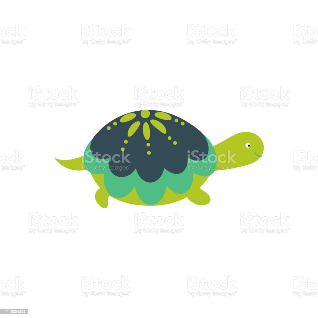 Green Cartoon Turtle Cute Character Isolated Vector Stock
