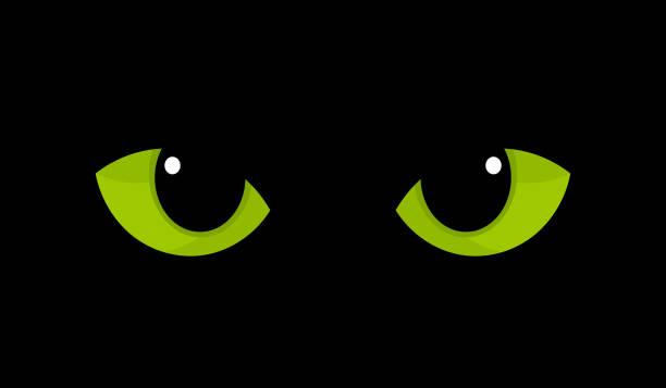 어둠 속에서 녹색 고양이 눈 - black friday stock illustrations