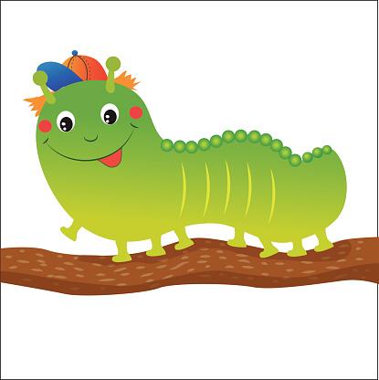 Green Caterpillar Cartoon. Vector Illustration On A White Background.