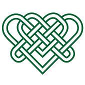 green celtic knot heart