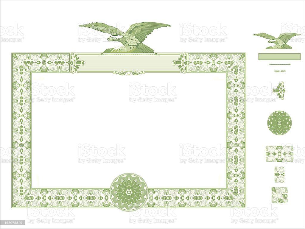 green certificate seal with eagle at the top stock