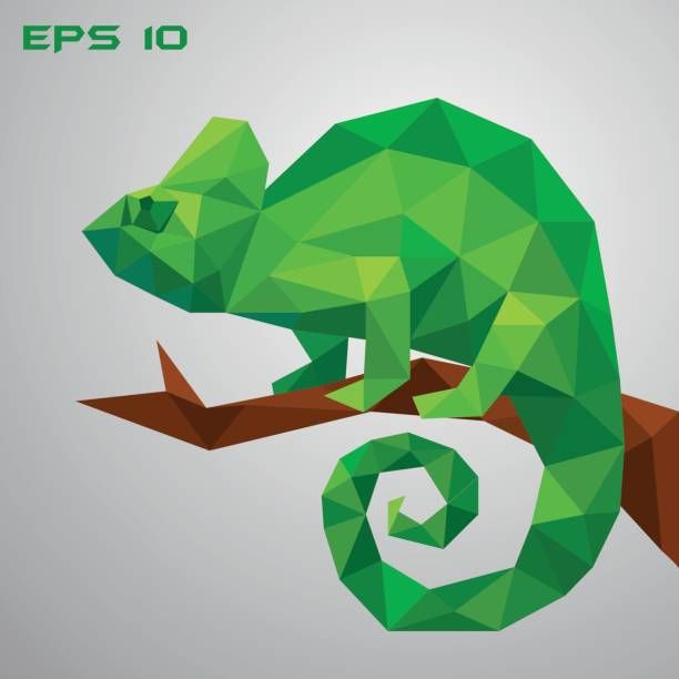 a green chameleon is sitting on a branch and looking. - chameleon stock illustrations