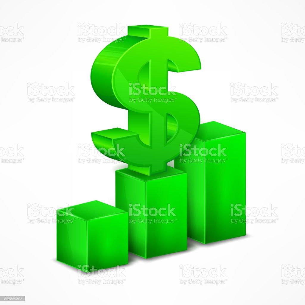 Green chart with dollar sign on white Lizenzfreies green chart with dollar sign on white stock vektor art und mehr bilder von balkendiagramm