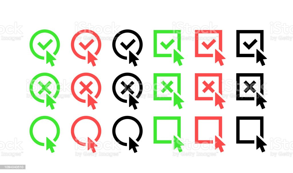 Green Check Mark And Red Cross Icon Set Circle And Square