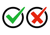 Green and red buttons. Green check mark and red cross. Right and wrong. Vector illustration