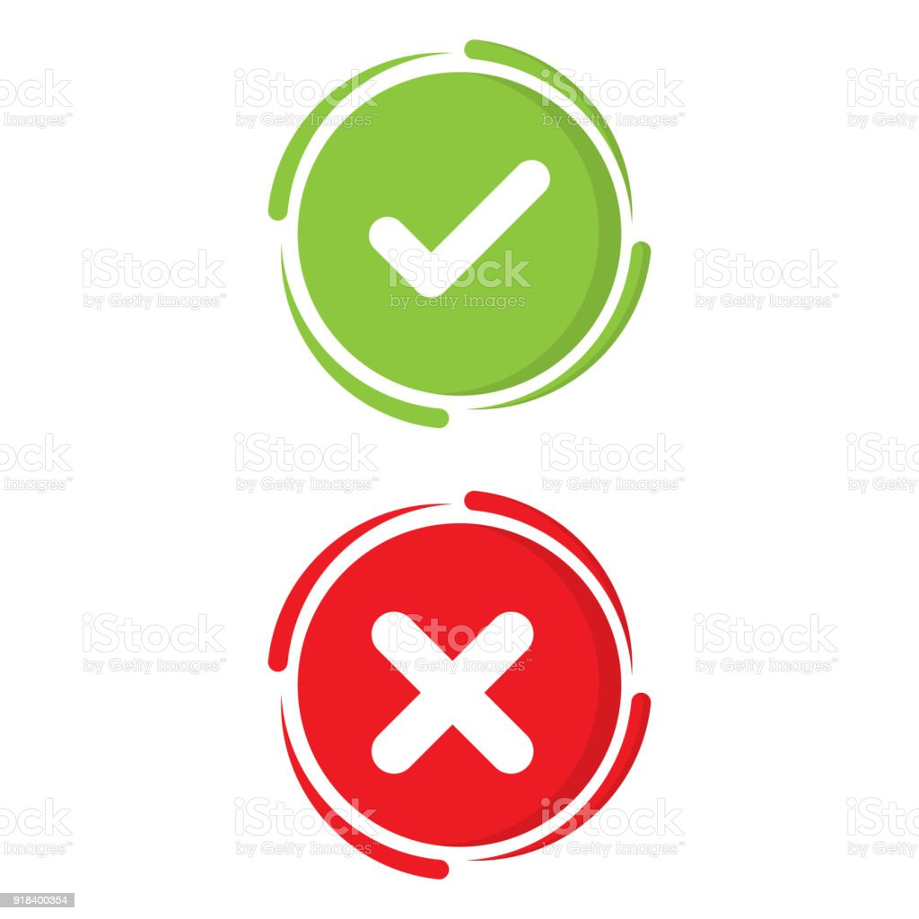 Green check mark and red x mark right and wrong vector green check mark and red x mark right and wrong vector illustration business icon concept buycottarizona