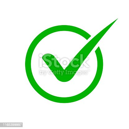 Green check mark icon. Checkmark in circle for checklist. Tick icon green colored in flat style.vector eps10