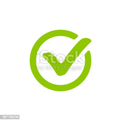 Green check mark icon in a circle. Tick symbol isolated on white background.