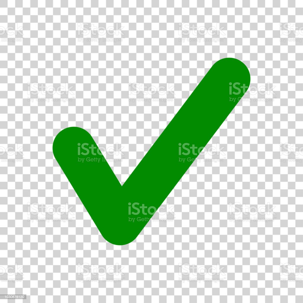 Green Check Mark Icon Isolated On Transparent Background
