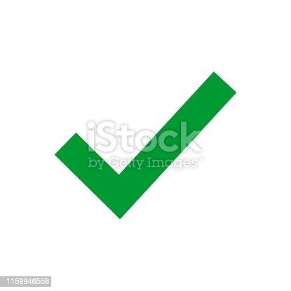 istock Green check mark icon. Tick symbol in green color, vector illustration. Confirm signe 1159946558