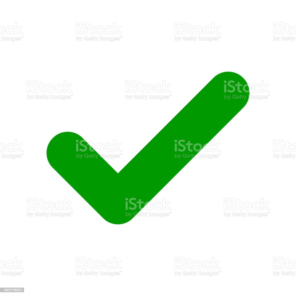 Green check mark icon. Tick symbol.