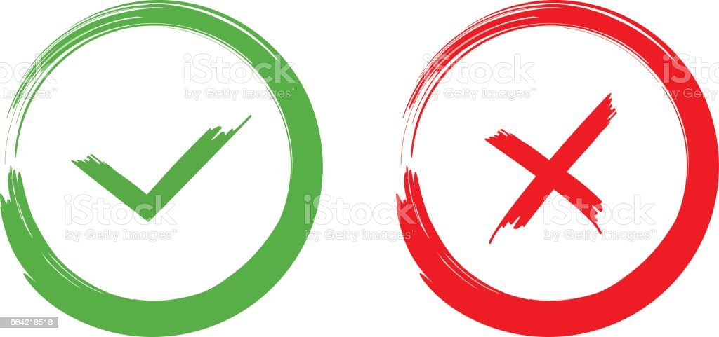 Green Check Mark Ok And Red X Icons Isolated On White Background