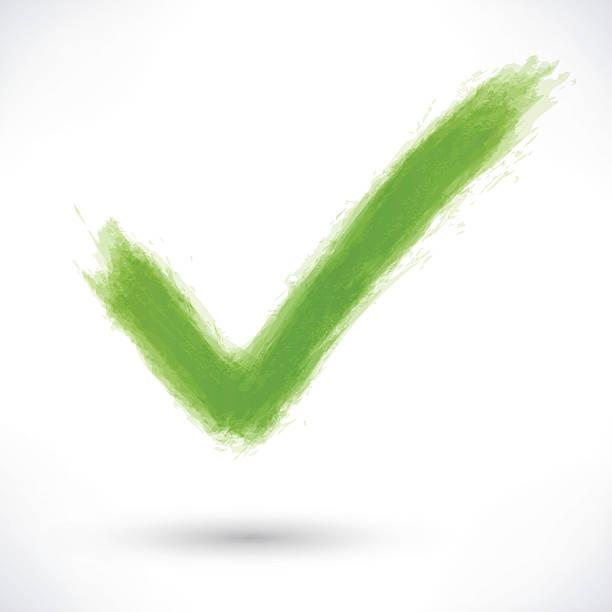 Green check mark sign with gray shadow – Vektorgrafik