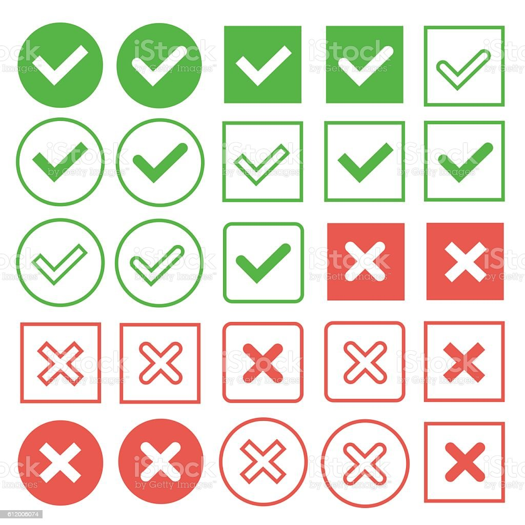 green check marks and red crosses vector art illustration