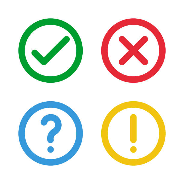 green check, red cross, blue question mark, yellow exclamation point, round thin line vector signs - checked pattern stock illustrations