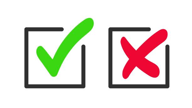 Green checkmark and red cross icon. Green checkmark and red cross icon. Vector symbol of approved and reject. rejection stock illustrations