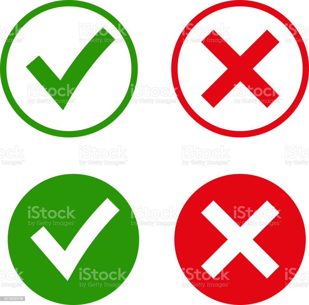 acca6550276 Green checkmark OK and red X icons, royalty-free green checkmark ok and red