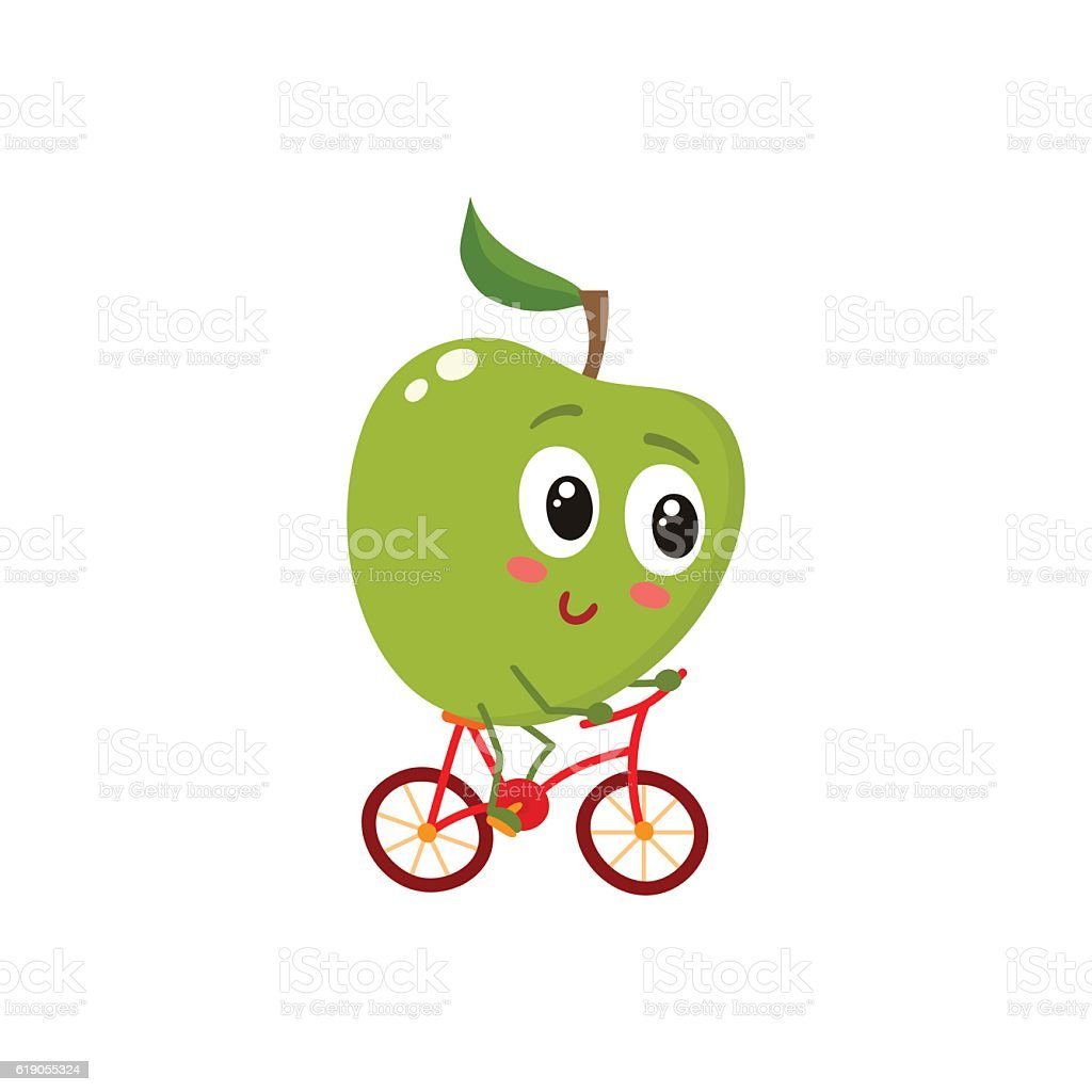 Green cheerful smiling apple riding a bicycle vector art illustration