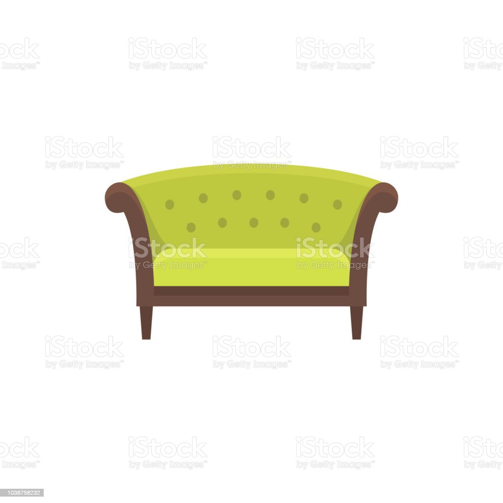 Fabulous Green Chesterfield Sofa Sofa Vector Illustration Flat Icon Spiritservingveterans Wood Chair Design Ideas Spiritservingveteransorg