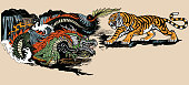 Green Chinese East Asian dragon versus tiger . Two spiritual creatures in the Buddhism representing the spirit heaven and matter earth. Graphic style vector illustration