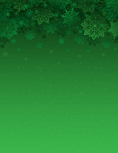 grüne weihnachten hintergrund mit schneeflocken und sternen, vektor-illustration - christmas background stock-grafiken, -clipart, -cartoons und -symbole