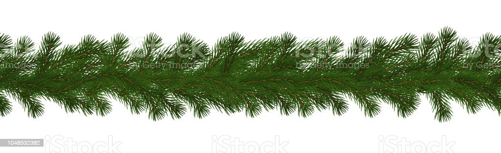 green christmas border of pine branch seamless vector isolated on white background xmas garland - Green Christmas Garland