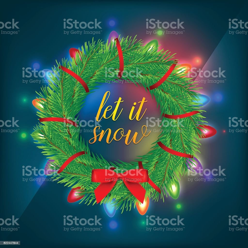 green christmas branch with christmas lights on black background royalty free green christmas branch