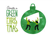 istock Green christmas eco card of people with pine tree 1185670210
