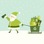 Santa pulling a recycling bin with eco-friendly gifts for Christmas