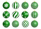 Set of vector realistic glass balls for Christmas decorations. Winter holidays. Christmas balls