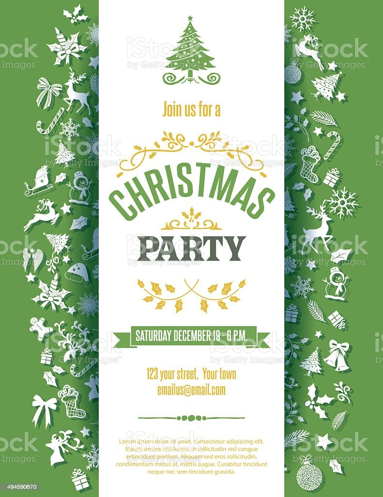Green Christmas Party Invitation Template Stock Vector Art & More ...