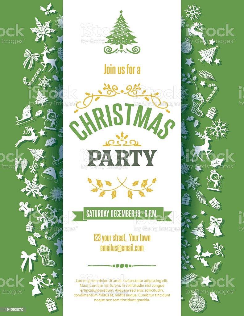Fiesta De Navidad Verde Plantilla De Invitación De - Arte vectorial ...