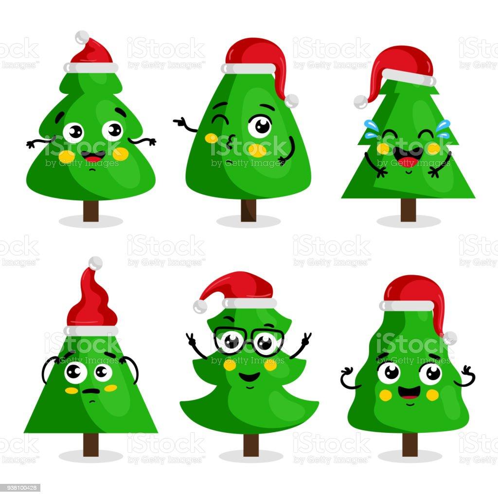 Ilustración de Personajes De Dibujos Animados De árbol De Navidad ...