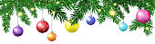 Green Christmas Tree Fir Branches Decorated With Colorful Balls Isolated On White Background Horizontal Banner Vector Illustration
