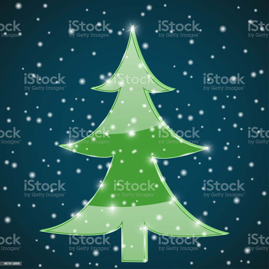 Green Christmas Tree In The Night Stock Vector Art More Images Of