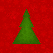 Green Christmas tree on red textured background. Holidays' greeting card.