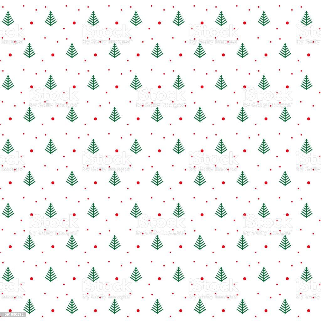 Ilustración de Patrón De árbol De Navidad Verde Con Puntos Rojos ...