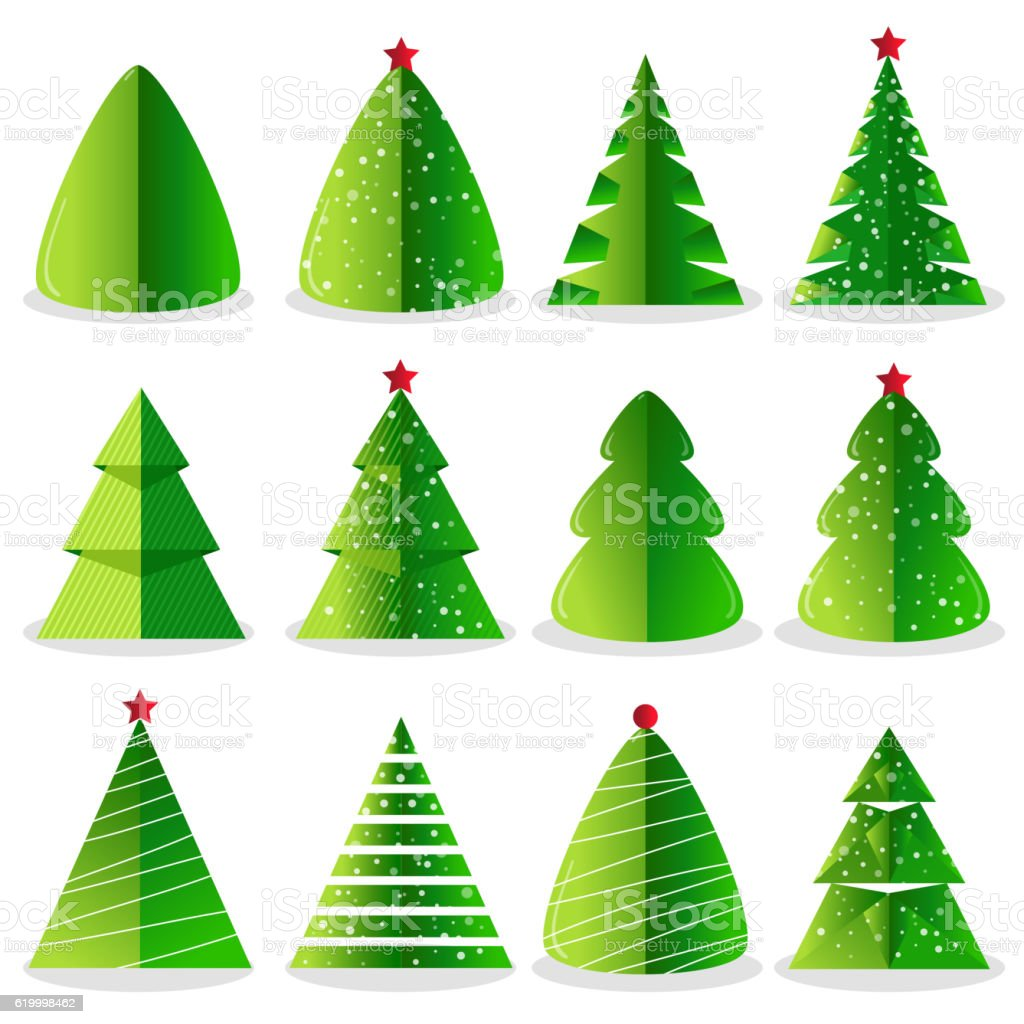 Green Christmas Tree Set In Flat Design Stock Vector Art & More ...