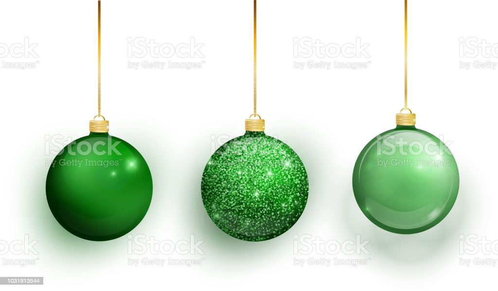 Christmas Ornaments Background.Green Christmas Tree Toy Set Isolated On A Transparent Background Stocking Christmas Decorations Vector Object For Christmas Design Mockup Vector
