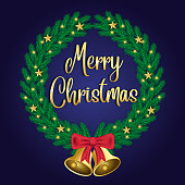 Green Christmas wreath with gold star decorations and luminous lights on a blue background. Decoration of a golden bell and red ribbon. Text merry christmas and happy new year. Realistic vector