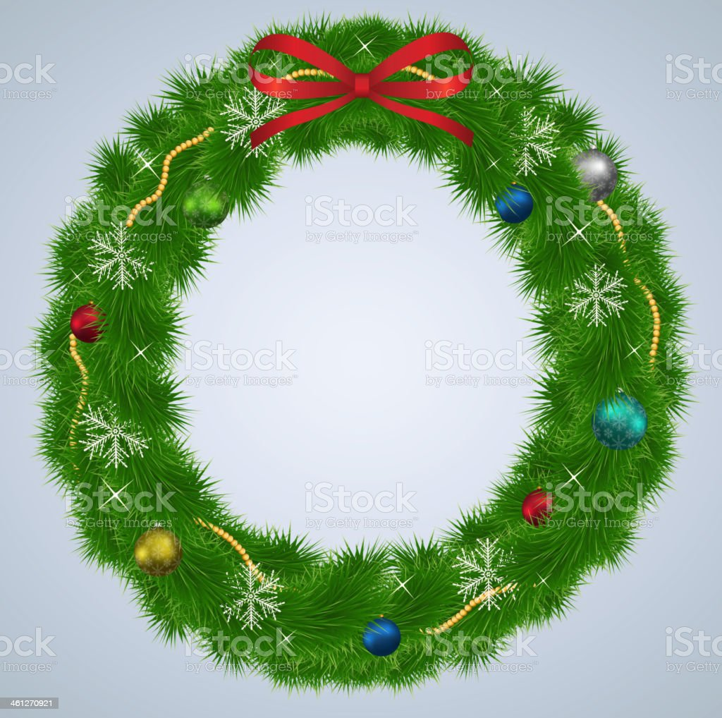 Green Christmas wreath with ornaments and red ribbon. Illustration