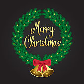 Green Christmas wreaths with golden bell decorations and luminous lights on a dark background. Text merry christmas and happy new year. Vector illustration