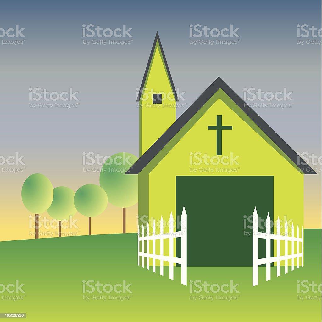 Green Church vector art illustration