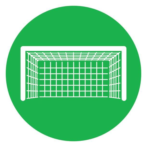 stockillustraties, clipart, cartoons en iconen met groene cirkel doel pictogram - soccer goal