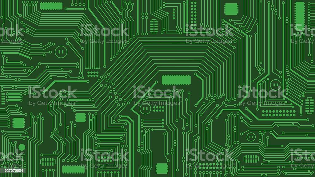 Green Circuit Board Background, Computers, Technology vector art illustration